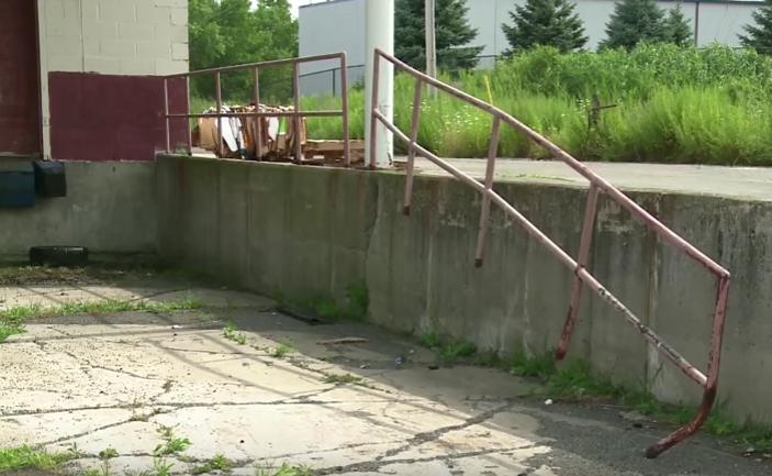 Damaged fabricated railing