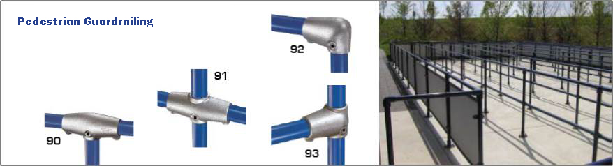 Pedestrian guardrailing constructed from fittings